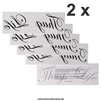 Amazon Com 2 X Lettering Thug Life As A Temporary Tattoo