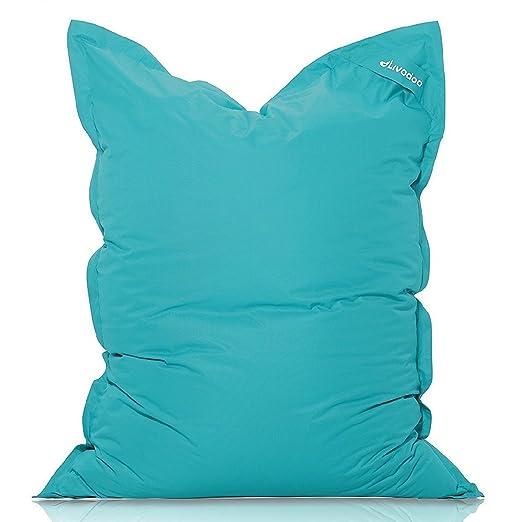 Livodoo® XXL Puf gigante 140 x180cm 400 litros puff xxl puff asiento cojin gigante relleno puff con saco interior en turquesa