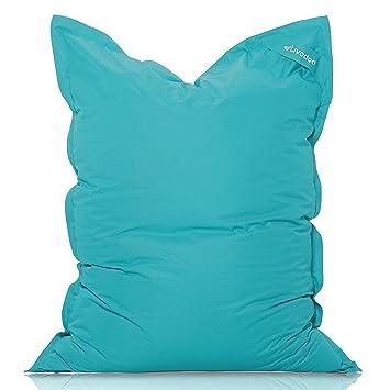 Livodoo® XXL Puf gigante 140 x180cm 400 litros puff xxl puff asiento cojin gigante relleno puff con saco interior en turquesa: Amazon.es: Hogar