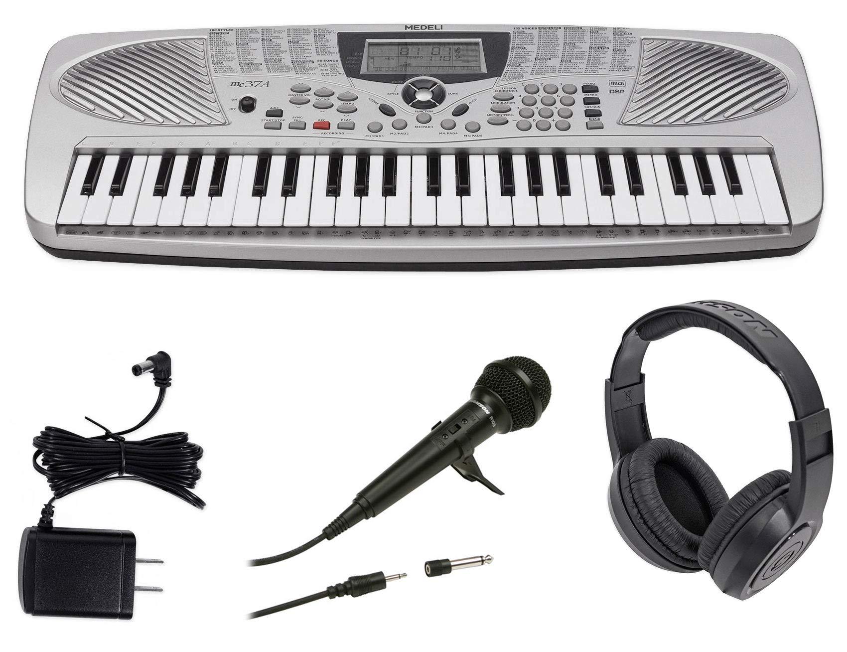 MEDELI MC37A 49-Key Portable USB Keyboard+Power Supply+Microphone+Headphones