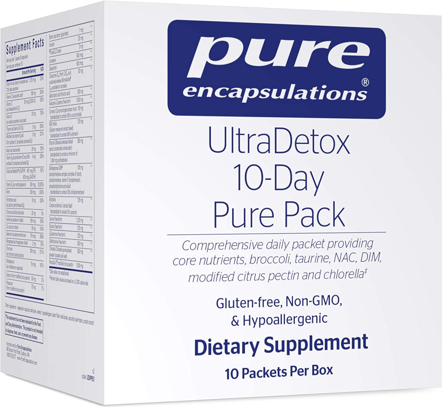 Pure Encapsulations - UltraDetox 10-Day Pure Pack Providing Core Nutrients, Broccoli, Taurine, NAC, DIM, Modified Citrus Pectin and Chlorella* - 10 Packets