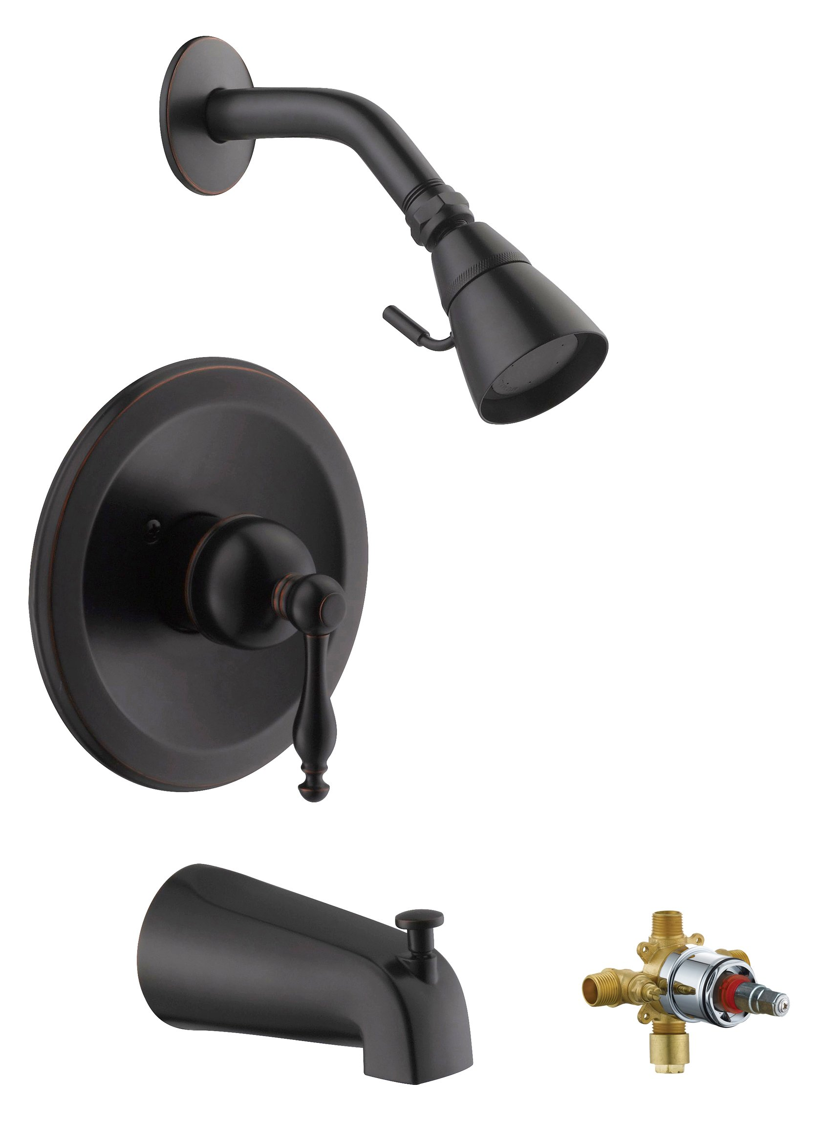 Design House 546028 Saratoga T & S Faucet, Oil Rubbed Bronze, Includes Complete Installation Kit with Valve