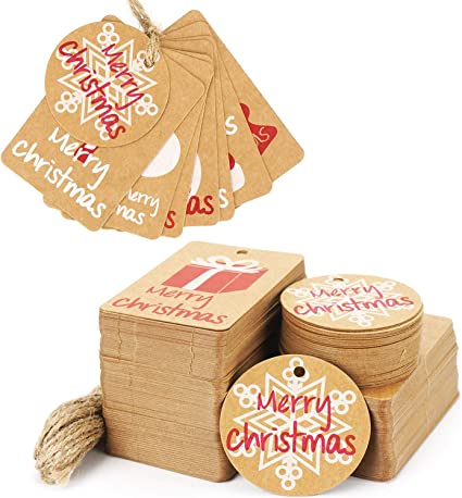 CHRISTMAS JOY-Christmas Gift Tags-Rustic-Kraft-Handmade-Set of 10
