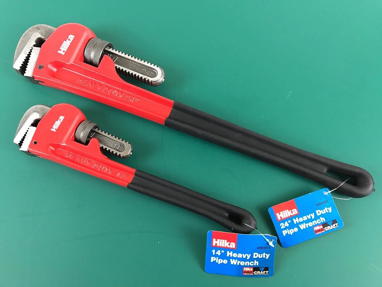 2 Hilka Pipe Monkey Wrench Stillson - 1x 14 inch 1x 24 inch MandyTools