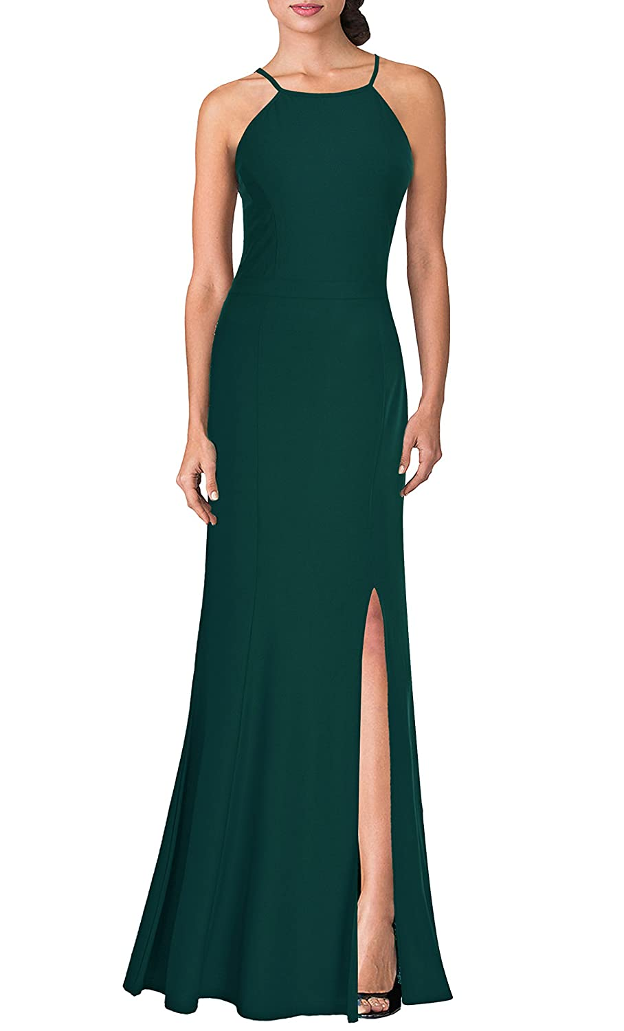 Green Mmondschein Women's Vintage Halter Wedding Bridesmaid Evening Long Dress