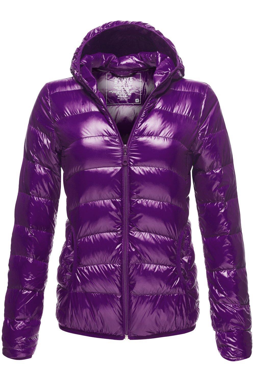 Luna Flower Women's Long Sleeve Lightweight Woven Puffer Zip-Up Hoodie Jacket with Pockets Dark_Purple Large (LFWJA0016)