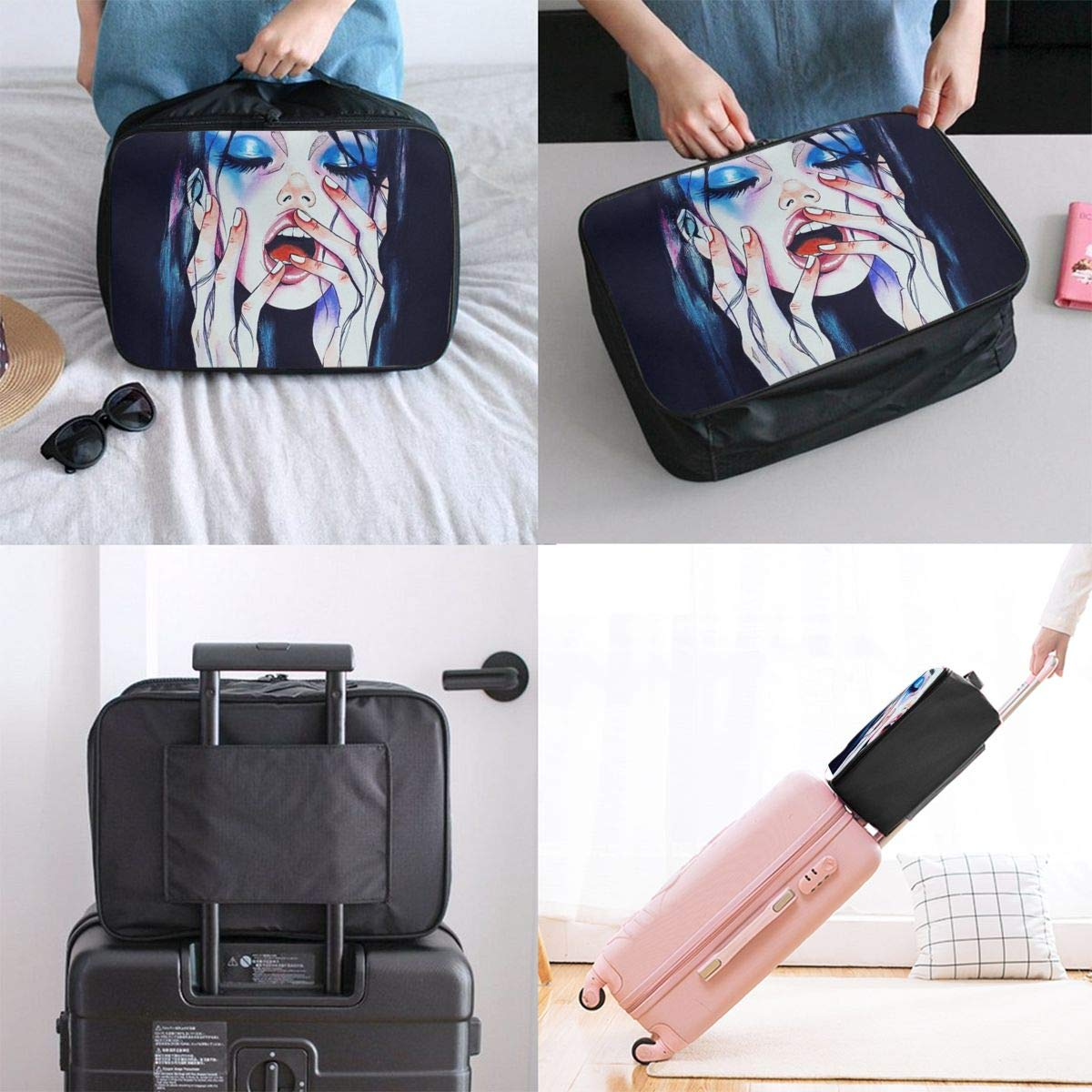 Gothic Vanity Excited Girl Woman Travel Lightweight Waterproof Folding Storage Portable Luggage Duffle Tote Bag Large Capacity In Trolley Handle Bags 6x11x15 Inch