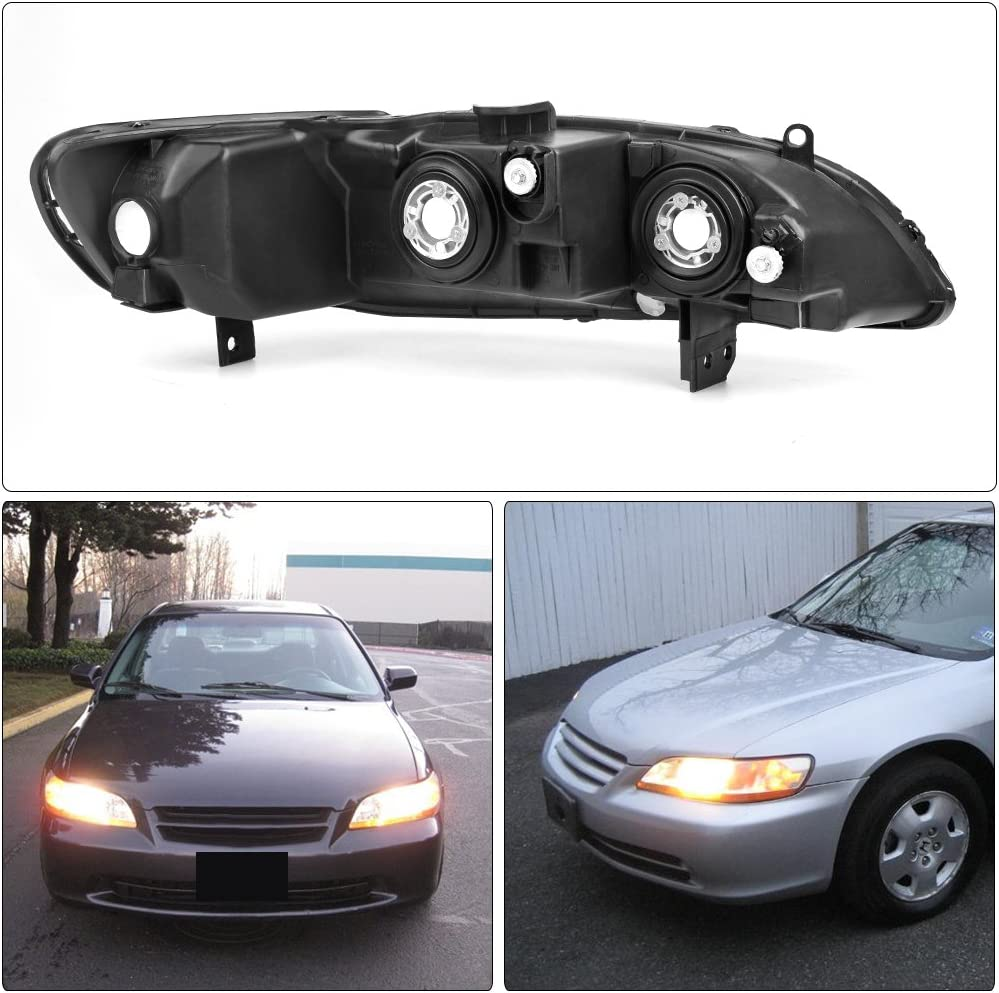 4-Door Headlight Assembly Replacement Black Housing Amber Reflector AUTOSAVER88 Compatible with 98 99 00 01 02 Honda Accord 2-Door