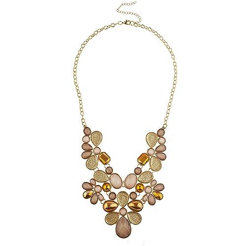 vasta selezione di ba7e0 9822b Lux Accessories, collana dorata decrata con pietre marroni e ...
