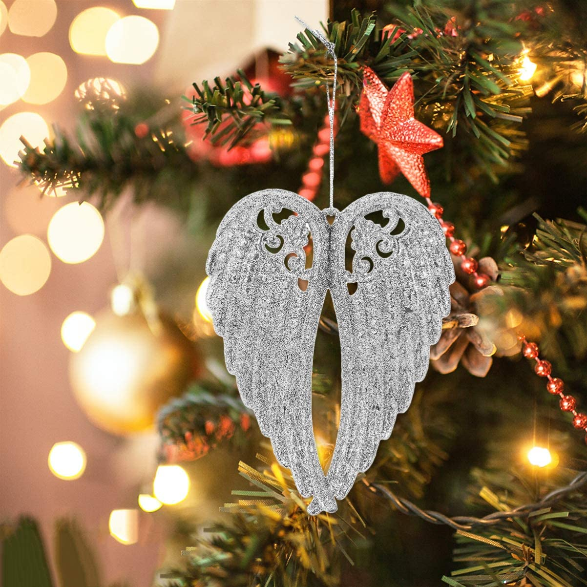 Red Glitter Hanging Angel Wings With Fur Christmas Tree Decoration Bauble