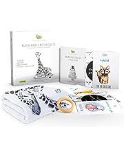 Eco Baby Planet Baby Milestone Blanket - Includes Milestone Blanket, Cards & Wooden Ring Marker - Monthly Luxury Fleece Blanket, Eco-Friendly Teether, Card Set