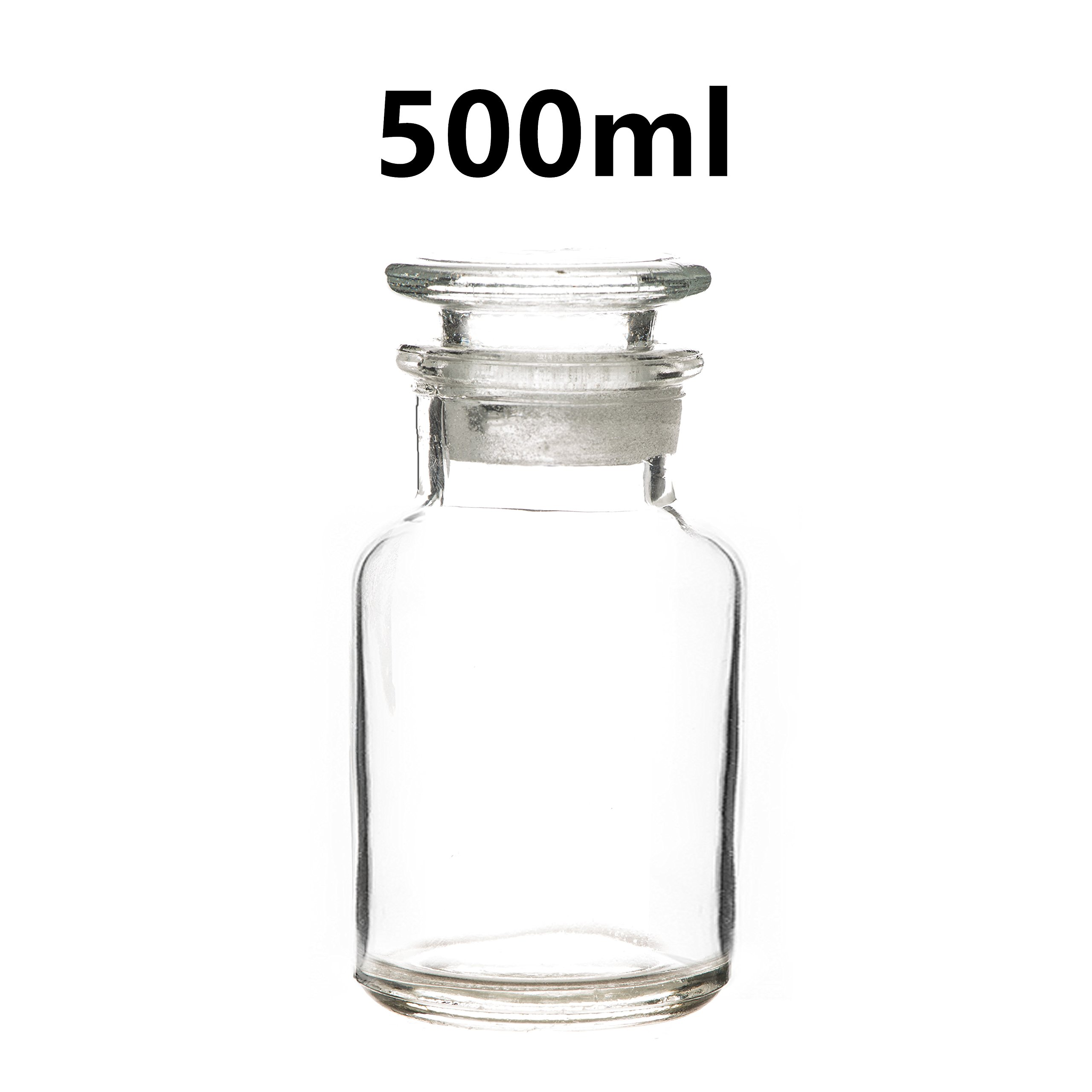 500ml Lab Reagent Sample Bottle Clear Glass Wide Mouth Bottle with Glass Lid Bottle Laboratory Supplies Reagent Sampling Bottle (Pack of 5)