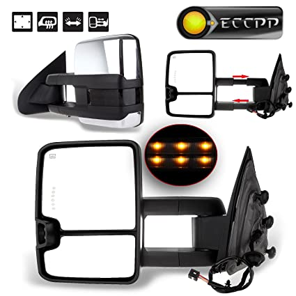 amazon com: eccpp towing mirrors for 14-17 chevy silverado gmc sierra tow  power heated led signal chrome cover mirror: automotive