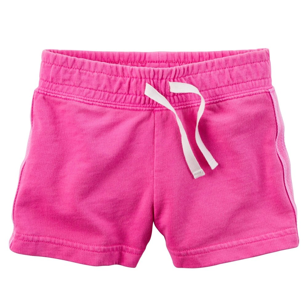Carters Baby Girls Sparkle Side Stripe Neon French Terry Shorts Pink 6M
