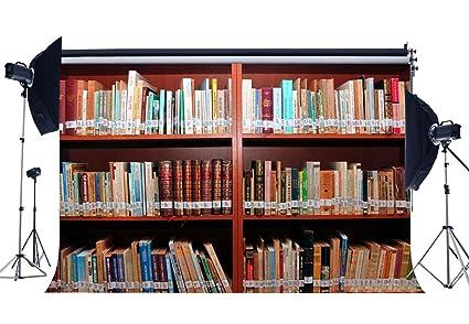 Amazon Com Gladbuy Vinyl 5x3ft Bookshelf Backdrop Study
