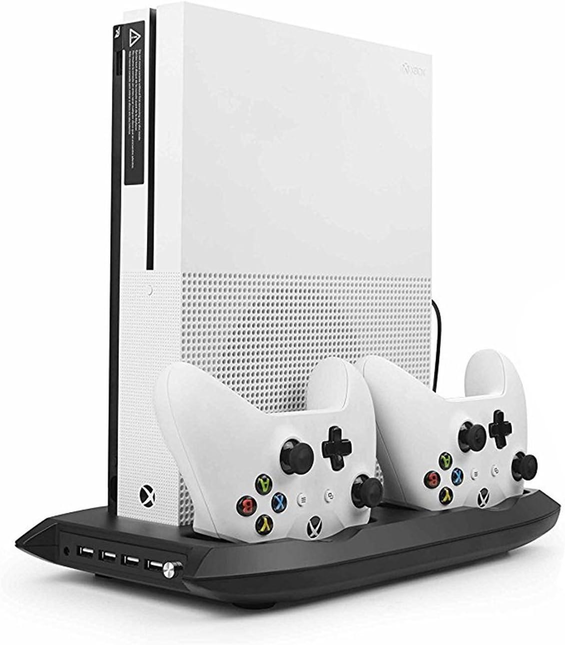 Xbox One S Soporte Vertical con Ventilador de Enfriamiento, Estación de Carga para Mando Xbox One con 4 Hub USB para Microsoft Xbox One Slim Consola: Amazon.es: Electrónica