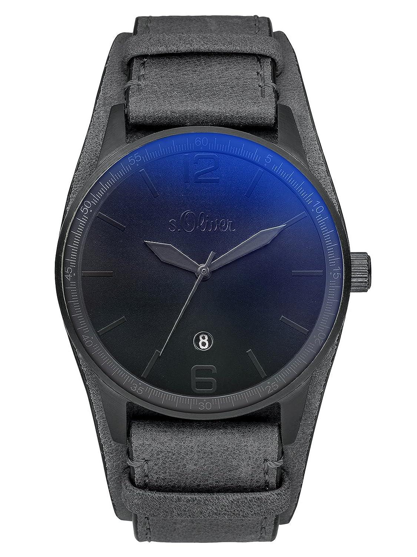 s.Oliver Herren-Armbanduhr Analog Quarz Leder SO-3149-LQ