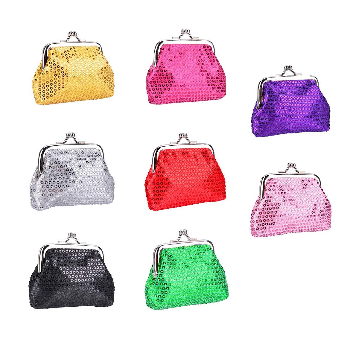 OZUAR 8 Pieces Children Coin Bag Key Purse, Glitter Purse Cash Wallet Money Purse Pouch with Clasp Closure Paillette Sequin Design for Girls Kids Woman 9 * 7CM, 8 Assorted Colors