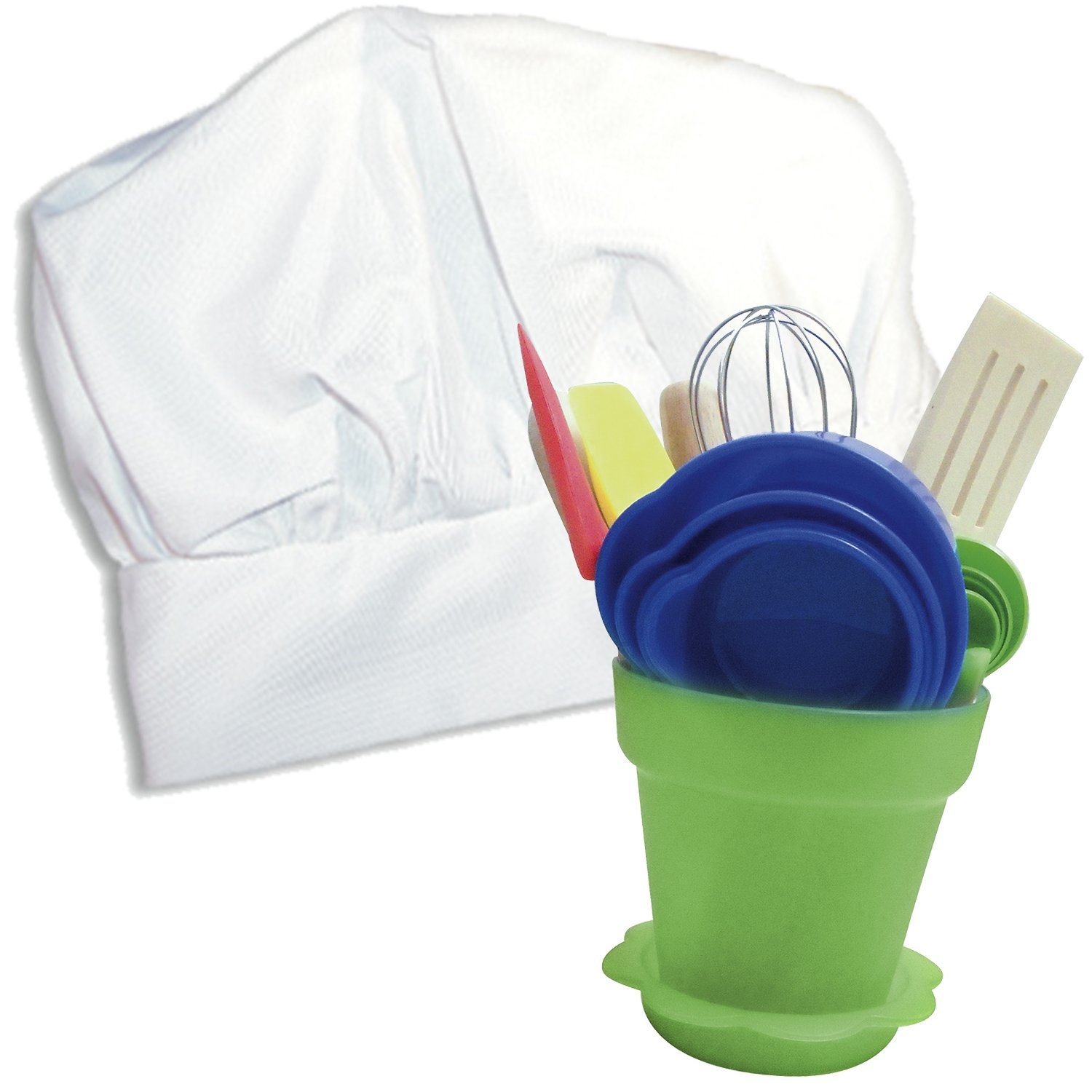 Sassafras ''The Little Cook Kid's Kitchen Tool Set with Bonus Chef's Hat -Dishwasher Safe Children's Cooking Kit Includes Herb Pot -Includes 16 Piece Children's Kitchen Tool Set and Kid's Chef's Hat