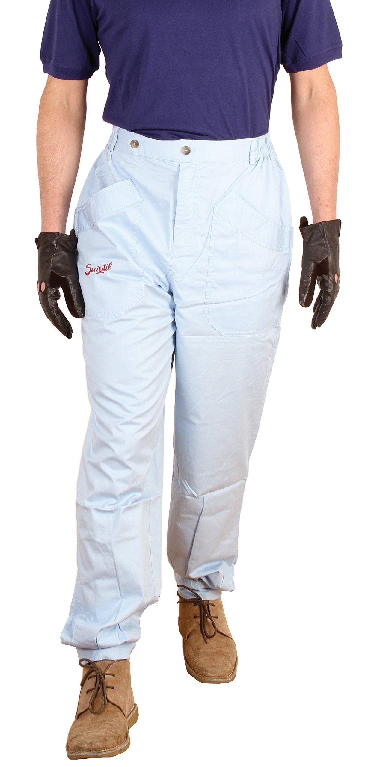 Suixtil Men's 100% Fine Cotton Twill Original Race Pant, Argentine Blue, 42/34