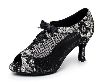 JSHOE Frauen Lace Bedruckte Mesh Tanzschuhe Latin Salsa/Tango/Tee/Samba/Modern/Jazz Schuhe Sandalen High Heels,Silver-heeled7.5cm-UK4.5/EU36/Our37