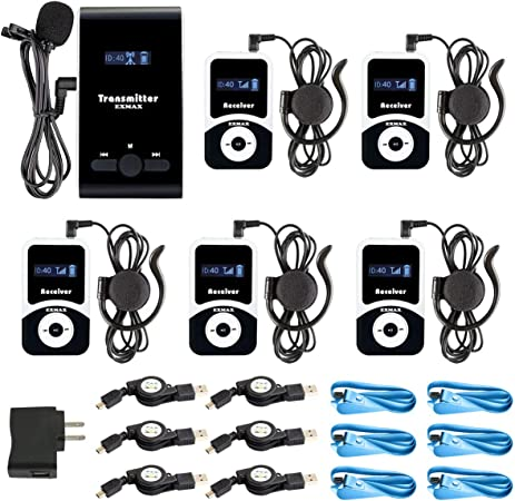 EXMAX ATG-100T 72-76MHz Wireless Tour Guide Monitoring System Microphone Earphone Headset for Church Simultaneous Interpreting Teaching Conference Travel Assistive Listening(1 Transmitter 5 Receivers)