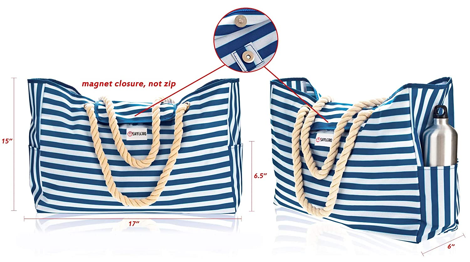 Top Magnet Clasp 100/% Waterproof Beach Bag XL L17xH15xW6 w Cotton Rope Handles Blue Stripes Shoulder Beach Tote Includes Phone Case Built-In Key Holder and Bottle Opener Two Outside Pockets