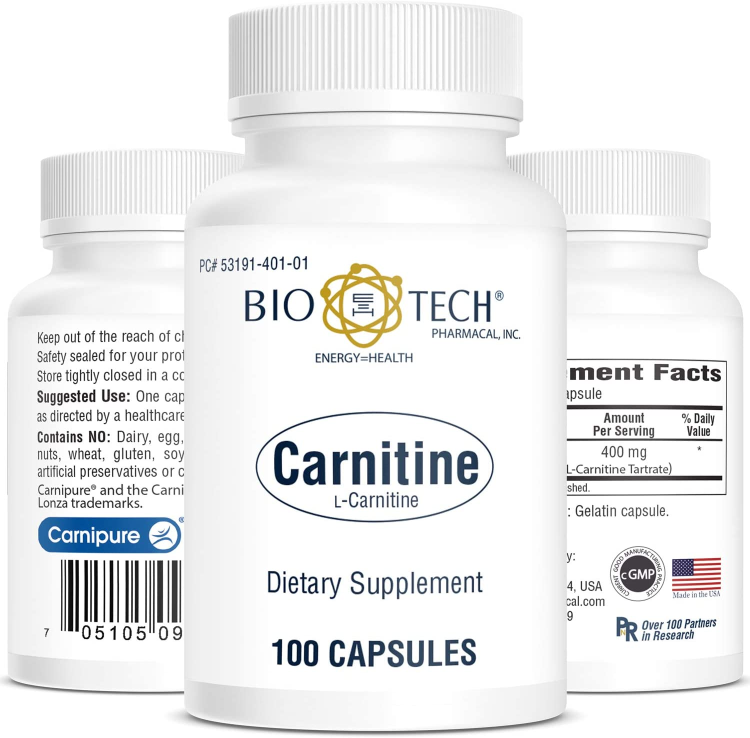 BioTech Pharmacal - Carnitine 400mg - 100 Count: Health & Personal Care