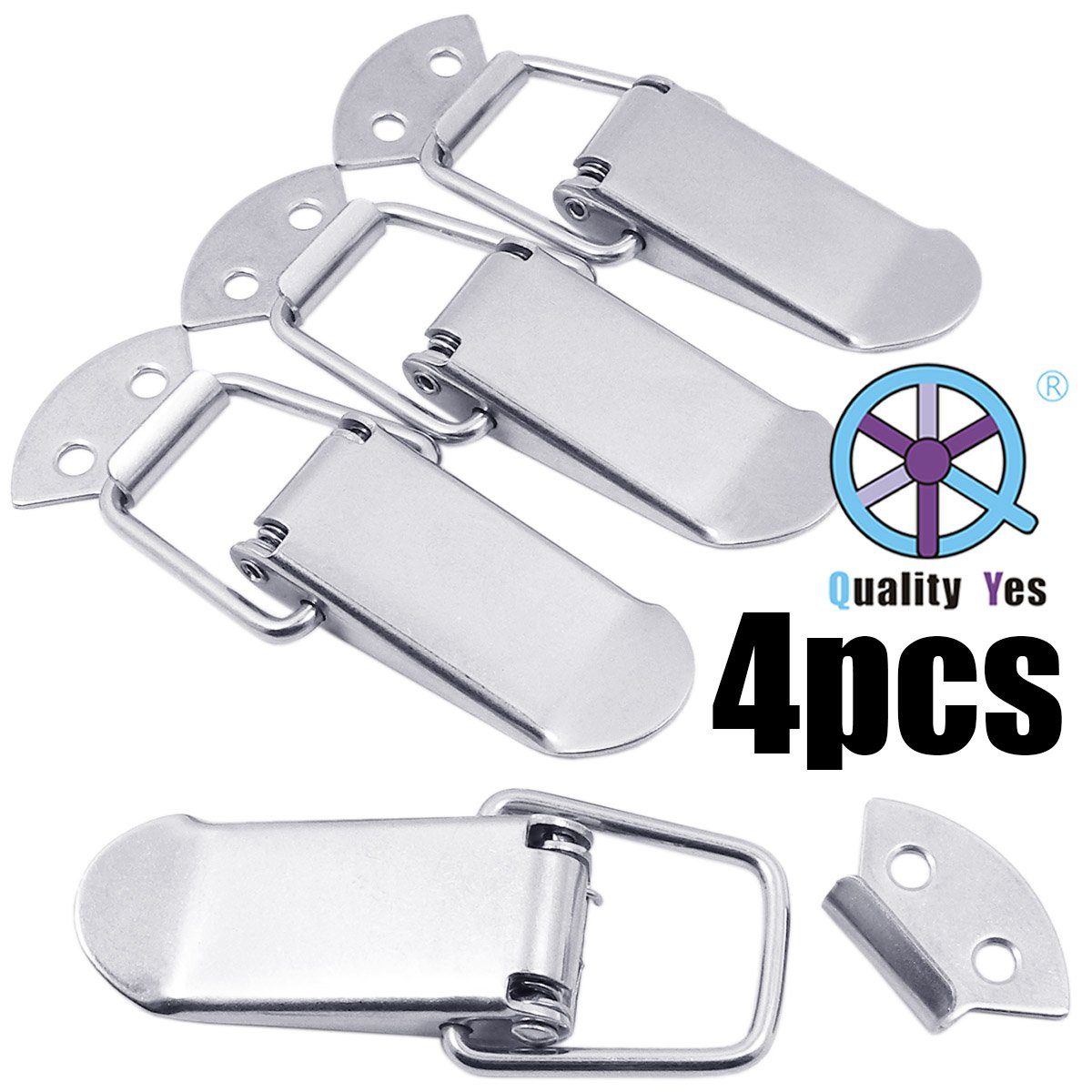 QY 4Set 304 Stainless Steel Cabinet Spring Loaded Toggle Clamps Box Clasp Buckle Trunk Catches Latch Hasp for DIY Chest Project