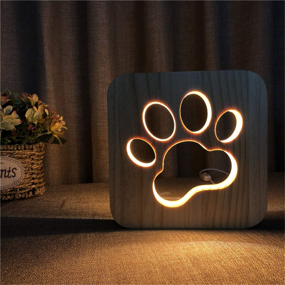 Creative Dog Paw 3D Christmas Wood Carving LED Night Light Warmwhite Color Lights USB Power Home Decor Lamp Desk Table Lamp for Kids Baby Gift