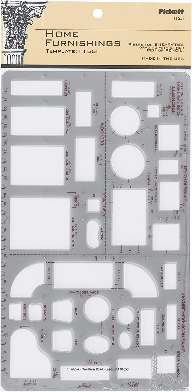 Pickett Home Furnishings Template, 1/4 Inch Scale (1155I)