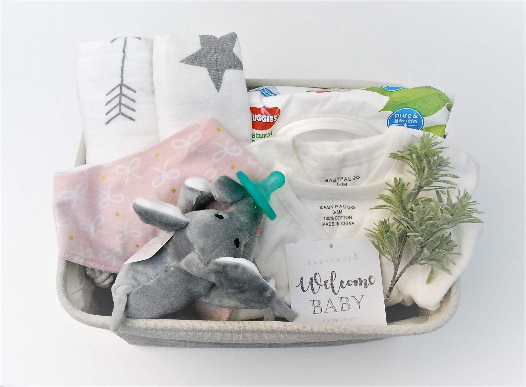 8 Piece Baby Girl Shower Gift Basket Set - Organic Cotton Bamboo Muslin Swaddle, Plush Animal Pacifier, Kimono Onesie Bodysuit, Multipurpose Diaper Basket, Bandana Bib - Pink Ribbons