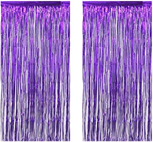 Intoy 2 Pack Purple Foil Fringe Curtains, 3 Feet Wide and 8 Feet Tall, Shimmer Tinsel Curtain Backdrop for Birthday Wedding Prom Party Decoration