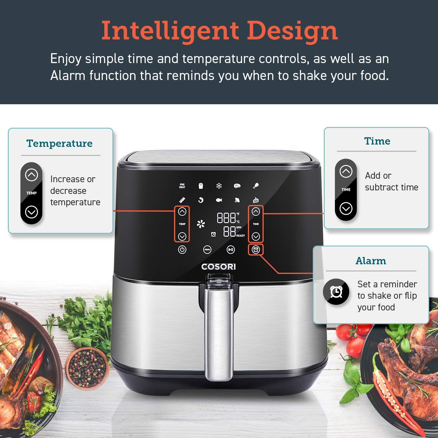 COSORI Stainless Steel Air Fryer (100 Recipes, Rack & 5 Skewers), 5.8Qt Large Air Fryers XL Oven Oilless Cooker, Preheat/Alarm Reminder, 9 Presets, Nonstick Basket, 2-Year Warranty, ETL/UL Listed by COSORI (Image #5)