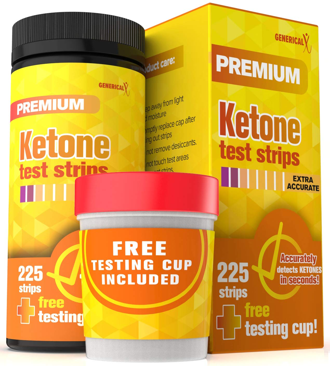 Ketone Urine Testing Kit (225 STRIPS + FREE TESTING CUP) Test Ketosis Levels on Low Carb Ketogenic and Atkins Diet Urinalysis Tester Instant and Accurate Measurements by Ketone Testing Kit by Generical X