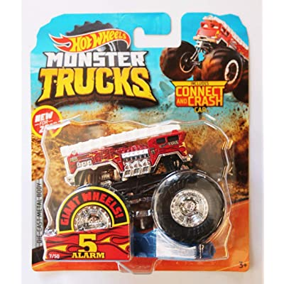 Hot Wheels 2020 Monster Trucks 5 Alarm 1:64 Giant Wheels with Connect and Crash Car: Kitchen & Dining