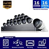 Samsung SDH-C75100-16REF 16 Channel All-in-one 2TB HDD DVR Security System w/ 16 1080p HD Cameras (Seller Refurbished)