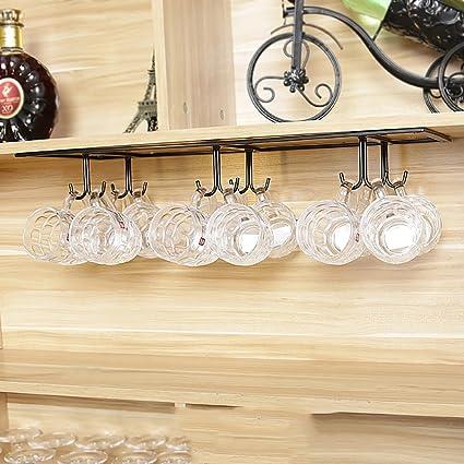 LHwine Portavasos de Vidrio Rojo Portavasos Vinoteca Colgante Estante para Vasos de café al Revés Estantería