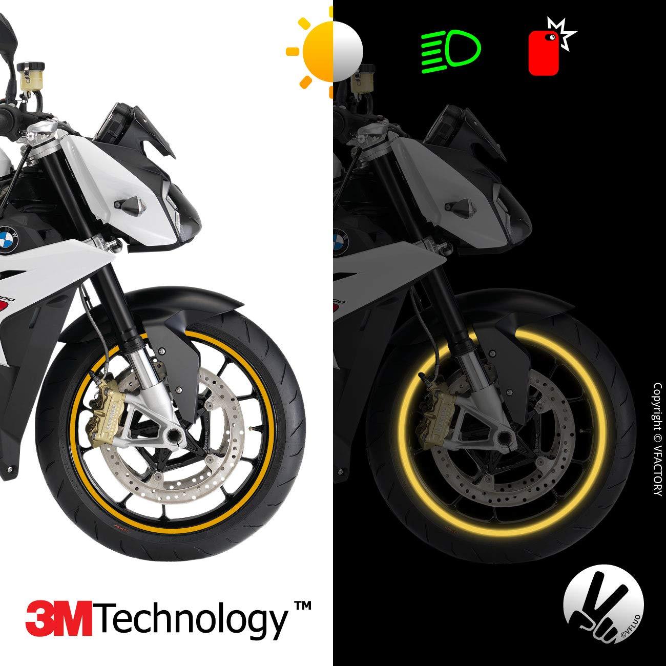 VFLUO Circular/™ Liseret Largeur XL : 10 mm Jaune Fluo 1 Roue 3M Technology/™ Kit Bandes Jantes Moto r/étro r/éfl/échissantes