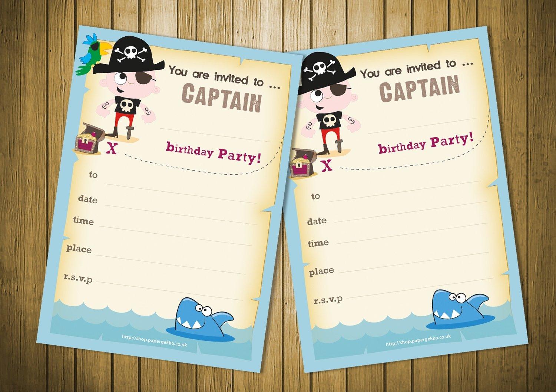 20 tarjetas de invitación para fiestas de cumpleaños para niños pirata - azul Paper Gekko