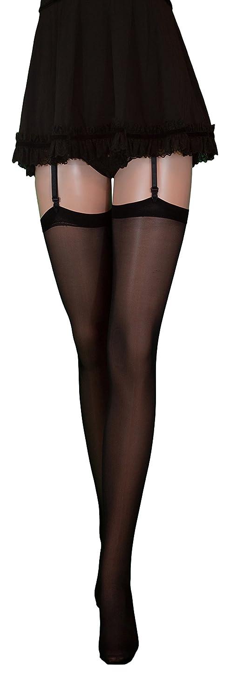 disponibili in nero o rosso velate Fiore calze autoreggenti di lusso finissime da 20 denari