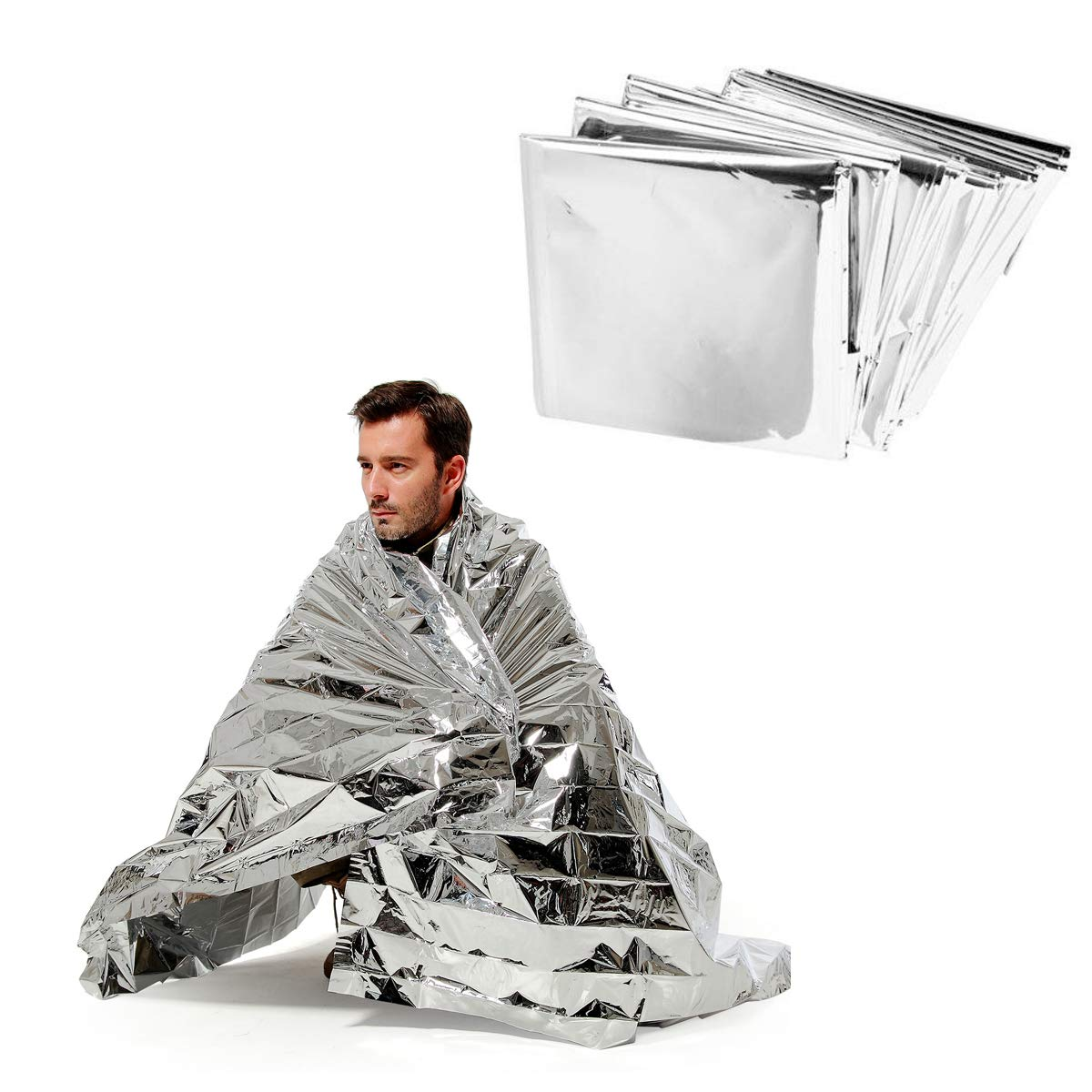 ANGTUO 5 Pack Emergency Blanket Survival Reflective Thermal First Aid Foil Blanket, Silver