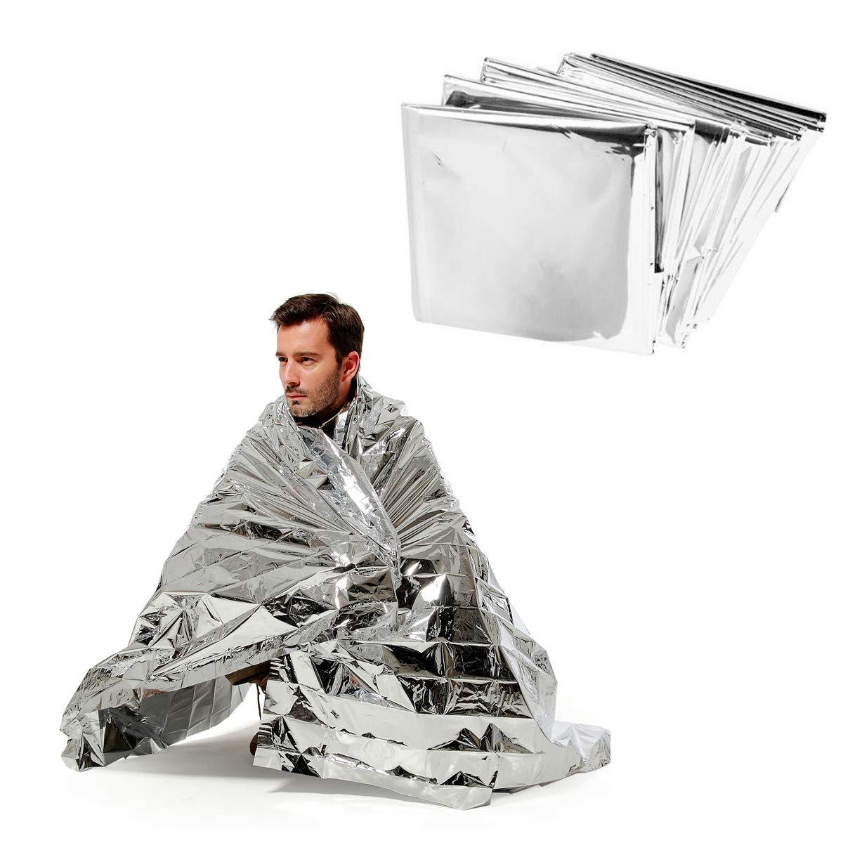 ANGTUO Manta té rmica reflectante de emergencia, supervivencia y primeros auxilios, 5 unidades, lá mina de color plata lámina de color plata