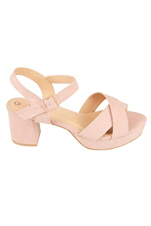 f863d7c40c Yours Clothing Wide Fit Women's Cross Front Heeled Platform Sandals In Eee  Fit Size 7EEE Nude