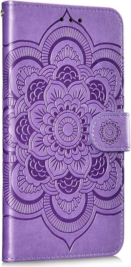 Saceebe Compatible avec Samsung Galaxy J2 Pro 2018 Coque Pochette Portefeuille Cuir Housse Retro 3D Mandala Fleur Motif Magn/étique /Étui /à Rabat Wallet Flip Cover Fonction Stand Carte Fente,Violet
