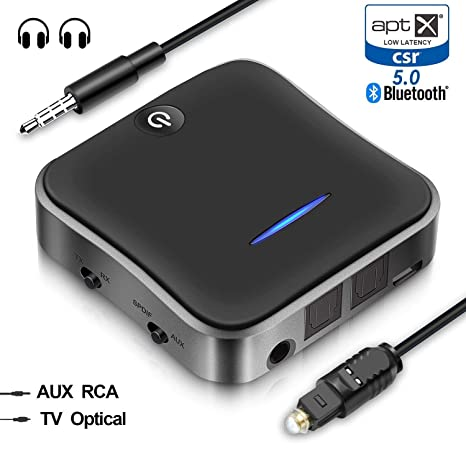 HiGoing Bluetooth 5.0 Receptor transmisor, Digital óptico Toslink 3,5 mm Adaptador de Audio