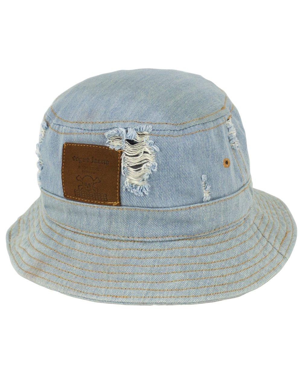 Dahlia Summer Sun Hat - Casual Distressed Denim Bucket Hat - Light Blue