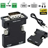 TERSELY Active 1080P Female HDMI to VGA Male Converter Adapter Dongle with 3.5mm Stereo Audio Portable HDMI Connector for Laptop PC PS3 Xbox STB Blu-ray DVD TV Stick