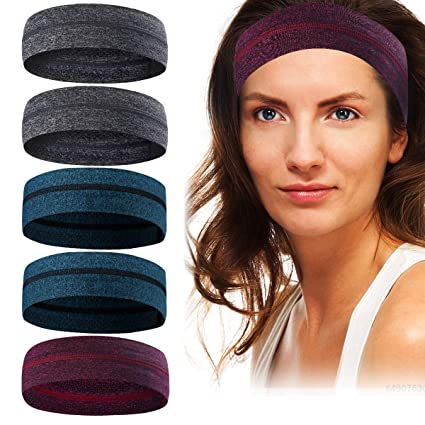 f2db9e960d42 Coolrunner 5 Pack Sweatbands for Women Men Non-Slip Sweat Bands Sport  Headbands Moisture-