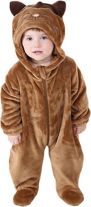 a05e74e5fb984 La Vogue Vêtement Combinaison Enfant Bébé Pyjama Grenouillère Hiver Chaud  Forme Animal Déguisement Chat Kaki 6